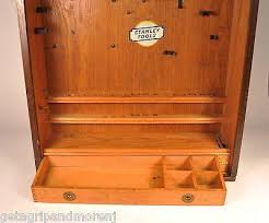 stanley tool chest cabinet stanley oak tool box cabinet 850 roll top 1920 s get a grip more