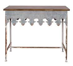 creative co op metal scalloped edge table with zinc finish and