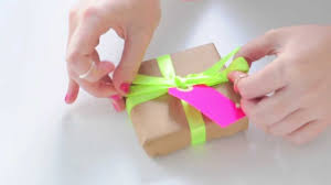 tying gift bows neon ribbon neon gift tags how to tie a ribbon bow and