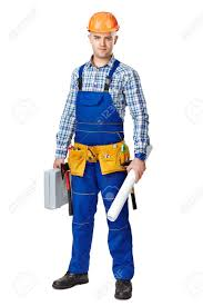 full length portrait of young male construction worker with