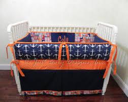 Orange Crib Bedding Sets Custom Baby Bedding Set Kyle Boy Baby Bedding Navy And