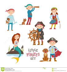 set of cute cartoon little pirate sailor kids and mermaid stock