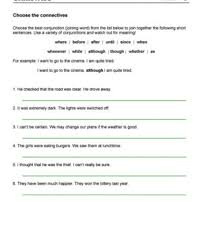 choose the connectives a an worksheets time connectives worksheets