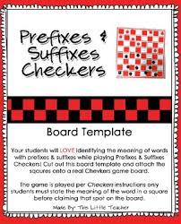 prefixes u0026 suffixes checkers board template free download tpt