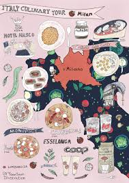 Milan Italy Map Italy Culinary Tour Milan Illustrated Food Map Yaansoon
