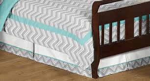 Gray Chevron Bedding Turquoise And Gray Chevron Zig Zag Toddler Bedding 5pc Set By