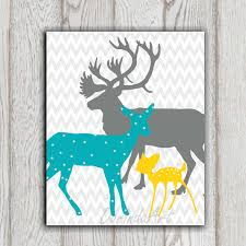Yellow And Gray Wall Decor by Teal Yellow Gray Boy Or Girls Bedroom Decor Print Deer Family