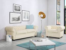 tufted leather sofa cream chesterfield beliani com