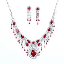 diamond necklace red images Fashion imitated red diamond bridal jewelry sets tassel summer jpg