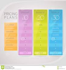 pricing comparison table set for commercial business web services