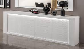 Buffet bahut design 4 portes laqué blanc avec éclairage Roselia