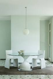 dining room designer dining table round glass modern white