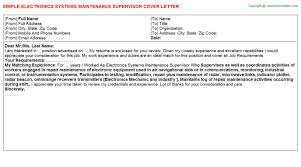 electronics systems maintenance supervisor cover letter