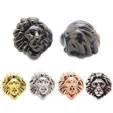 bracelet charm beads silver images 3d diy lion head beads silver black gun rose gold gold color lion jpg