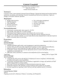 Sample Resume For Supervisor Position by Sample Resume Manager General Management Examples Restaurant