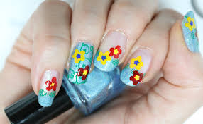 nail art design clear jelly stamper free form flowers youtube