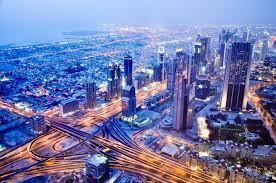 dubai dubai road panorama united arab emirates building night city