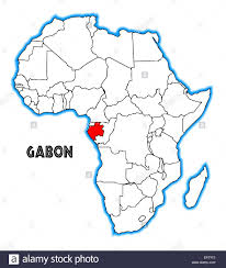 Gabon Map Gabon Outline Inset Into A Map Of Africa Over A White Background
