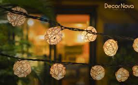 rattan string lights warm white decornova
