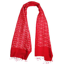 traditional thai patterned red and white scarf