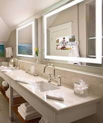Beachy Bathroom Mirrors by Integrity Lighted Mirror Tv Hidden Tv Electric Mirror