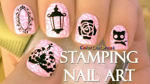 stamping nail art designs mirror lantern flower roses black