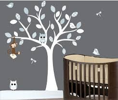 Wall Tree Decals For Nursery Childrens Wall Decals Monkey On A White Tree Decal Birds And