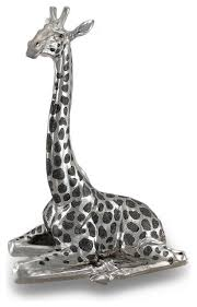 Statue For Home Decoration Giraffe Statue Home Decor Polished Chrome And Black Finish Resting
