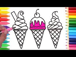 how to draw colorful ice creams coloring pages art colors for