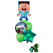 minecraft balloons minecraft steve balloon bouquet green this party started