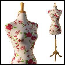 Female Decorative Dress Form Mannequin Print Fabric FLOWER BOUQUET