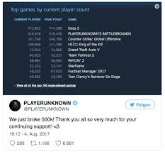 1 pubg player pubg breaks half a mil simultaneous player record overall second