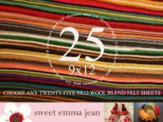 wool blend felt sheets 20 9x12 pick your own colors