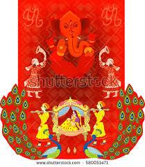 hindu wedding invitation indian hindu wedding invitation card indian hindu stock vector