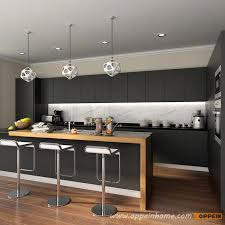 Lacquered Kitchen Cabinets Op16 L14 Modern Stylish Black Matte Lacquer Kitchen Cabinet