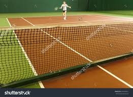 Indoor Tennis Court Playing Athlete Stock Photo 561405901