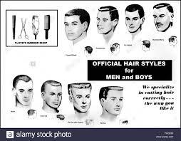 1950s usa barbershop haircut charts book plate stock photo