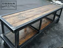 Rustic Metal And Wood Coffee Table Industrial Wood Coffee Table Rustic Industrial Reclaimed Wood Iron