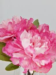 Peony Floral Arrangement by Pink Pink Silk Peony Peonies Glass Vase Faux Water