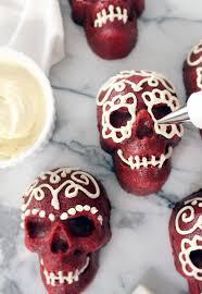Halloween Mini Cakes by Shore Society Make It Red Velvet Skull Cakes