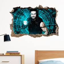 decals stickers roman reigns in wall crack wrestling decal sticker wall art kids gift wwe large