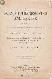 thanksgiving and prayer treaty of peace july 1919 bottesford