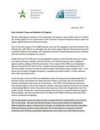 consumer financial protection bureau sustainable investors and businesses urge congress to support the
