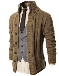 brown sweater h2h mens casual stand collar cable knitted button cardigan