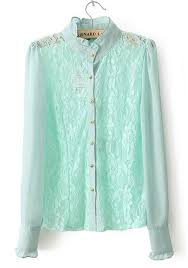 green lace patchwork collarless long sleeve chiffon blouse