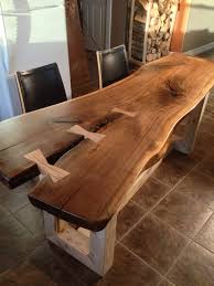 live edge coffee table dining table with steel pipe legs