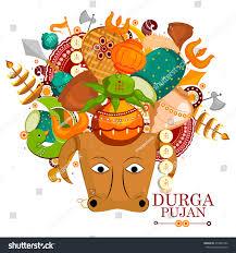 doodle edit easy edit vector illustration happy durga stock vector 479841856