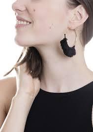 black hoop earrings black hoop tassel earrings happiness boutique