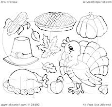 of outlined thanksgiving items royalty free vector