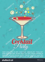 Cocktail Party Invitation Card Vintage Cocktail Party Invitation Poster Stock Vector 135076715